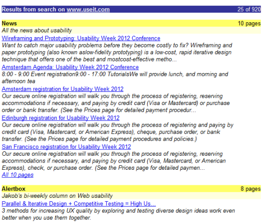 Useit.com website - search for 'wireframes'