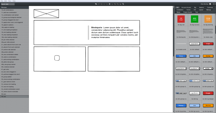 How I lay out my Balsamiq Mockups window.