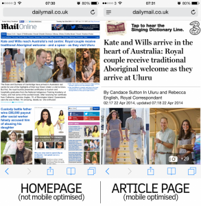 The homepage is not mobile optimised -- although individual article pages are. Image: TheMediaBriefing.
